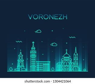 Voronezh skyline, Voronezh Oblast, Russia. Trendy vector illustration, linear style