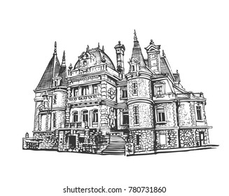 Vorontsov Palace in the Crimea. Vector drawing, sketch