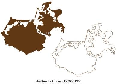 Vorpommern-Rugen district (Federal Republic of Germany, rural district, State of Mecklenburg-Vorpommern, Western Pomerania or West) map vector illustration, scribble sketch Vorpommern Rugen map