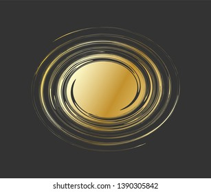 Vortex -  abstract vector illustration. Galaxy shape. Text template. Swirl shape. Gold whirlwind on black background with space for text in curl center.