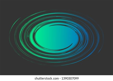 Vortex -  abstract vector illustration. Galaxy shape. Text template. Swirl shape. Blue and green whirlwind on black background with space for text in curl center.