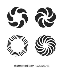 Vortex icons set. Spiral and swirls symbol. Vector illustration isolated on white background