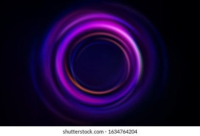 Vortex, swirl, black ripple. Dark soft circles vector horizontal abstract background. Circular glow lights rings in blue and pink colors isolated on black background. Vector ripple illustration.