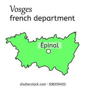 Vosges french department map on white
