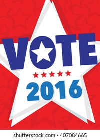 Vote 2016 political poster with star background