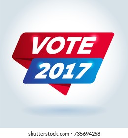 VOTE 2017 arrow colored tag sign.
