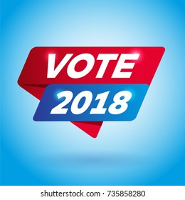 VOTE 2018 arrow colored tag sign.