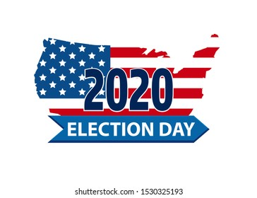 Vote 2020 in USA, banner design. American flag patriotic background election day. Election voting poster. Political election campaign. Silhouette of USA country flag logo.