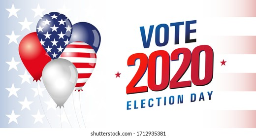 Vote 2020 in USA, banner design. American patriotic background election day. Usa debate of president voting. Election voting poster vector template. Political election campaign with air balloons