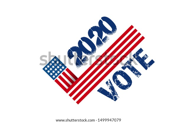 Vote 2020 in USA, banner design. American patriotic background election day. Usa debate of president voting. Election voting poster. Political election campaign. Flyer vector blue red white logo.