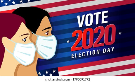 Vote 2020 in USA, blue stripes banner with people on flag. American patriotic background election day. Usa debate of president voting. Election voting poster vector template
