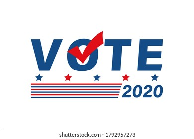 Vote 2020 in USA political poster. Flat patriotic colors banner with slats and checkmark. Voting campaign vector logo illustration