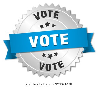 vote 3d silver badge with blue ribbon