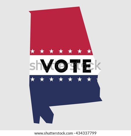 Vote Alabama State Map Outline Patriotic Stock Vector Royalty Free