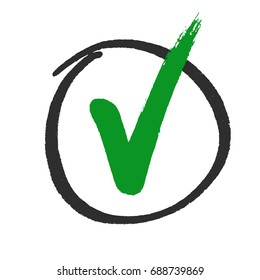 Vote or approved check mark hand drawn, vector.