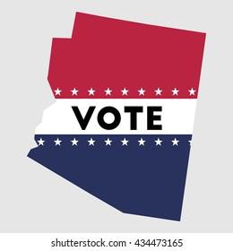 Vote Arizona state map outline. Patriotic design element to encourage voting in presidential election 2016. vote Arizona vector illustration.