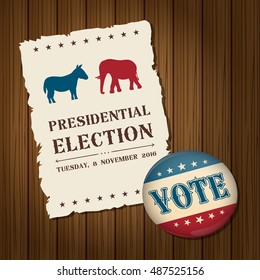 Vote badge button with donkey and elephant symbols political parties America. 2016 USA presidential election campaign.Vintage style. Vector illustration.