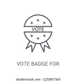 Vote badge for political elections icon. Trendy Vote badge for political elections logo concept on white background from Political collection.