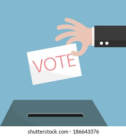 Vote ballot with box. Vector illustration.