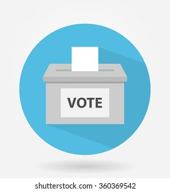 Vote box or ballot box icon with long shadow. flat design