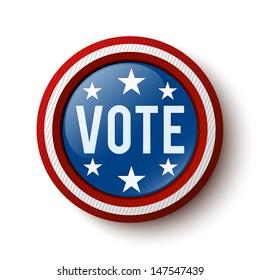 Vote button. United States Election. Vector illustration