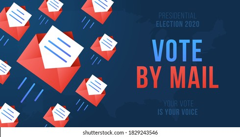 Vote by mail vector illustration. Stay Safe concept The 2020 United States Presidential Election. Template for background, banner, card, poster with text inscription.