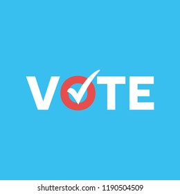 Vote Check Mark Ballot Vector Text Typography Message Background Banner