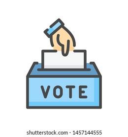 Vote color line icon. Hand putting paper in the voting box. Ballot box colorful vector icon.