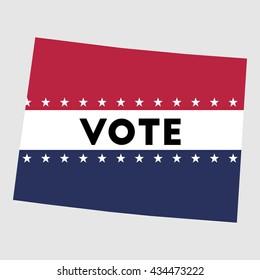 Vote Colorado state map outline. Patriotic design element to encourage voting in presidential election 2016. vote Colorado vector illustration.
