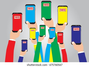 Vote of concept - Online vote of concept with vector design simple - Multi hand holding smart phone colorful color for vote online