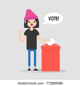 Vote, conceptual illustration. Young female character calling for participation in elections / flat editable vector illustration, clip art
