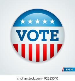Vote election campaign badge button for 2012