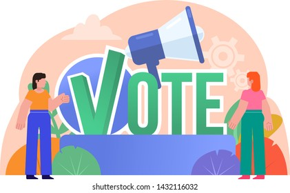 Vote, election campaign poster. People stand near big vote word. Poster for social media, web page, banner, presentation. Flat design vector illustration