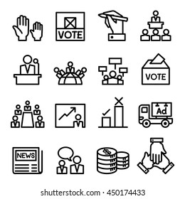 Vote , election, democracy icon set  in thin line style