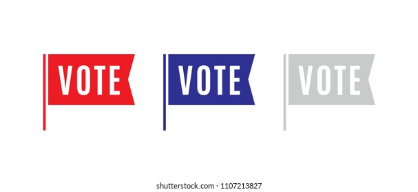 Vote Election Flag Sticker, President, Government Vector Logo Illustration Background for mobile, poster, flyers, social media
