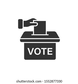 Vote icon in flat style. Ballot box vector illustration on white isolated background. Election business concept.