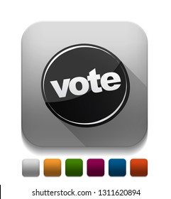 vote icon With long shadow over app button