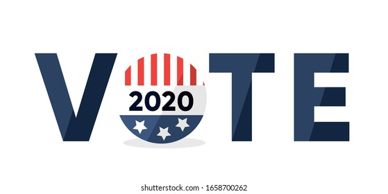 Vote inscription with American flag on badge.Presidential election banner. Flat vector illustration.