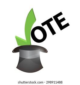 vote inside a hat concept illustration design over white