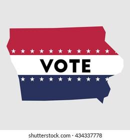 Vote Iowa state map outline. Patriotic design element to encourage voting in presidential election 2016. vote Iowa vector illustration.