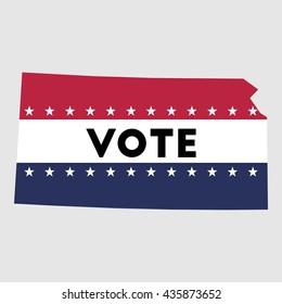 Vote Kansas state map outline. Patriotic design element to encourage voting in presidential election 2016. vote Kansas vector illustration.