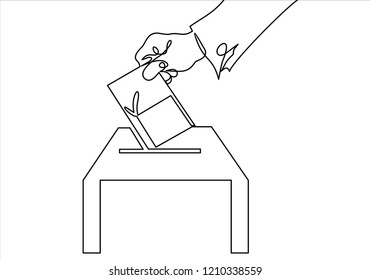 Vote line icon. Hand putting paper in the voting box-continuous line drawing