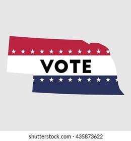 Vote Nebraska state map outline. Patriotic design element to encourage voting in presidential election 2016. vote Nebraska vector illustration.