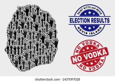 Vote Nevis Island map and watermarks. Red round No Vodka textured seal stamp. Black Nevis Island map mosaic of raised up help arms. Vector composition for ballot results, with No Vodka seal stamp.