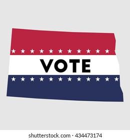 Vote North Dakota state map outline. Patriotic design element to encourage voting in presidential election 2016. vote North Dakota vector illustration.