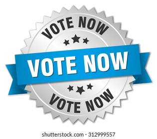 vote now 3d silver badge with blue ribbon