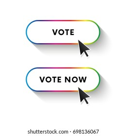 Vote now button. Vote button. Spectrum gradient. Long shadow. Vector illustration.