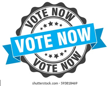 vote now. stamp. sticker. seal. round grunge vintage ribbon vote now sign