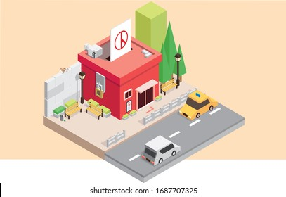 Vote office isometric illust art
