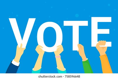 Vote and opinion poll concept vector illustration of young people happy voting. Flat human hands hold vote letters on blue background